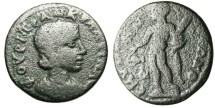 "Ancient Coins - Very Rare Tranquillina AE21 ""Herakles With Chlamys"" Ionia Smyrna"