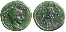 """Ancient Coins - Gordian III Diassasion AE22 """"Diana, Hunting With Bow by Hound"""" Thrace, Deultum"""