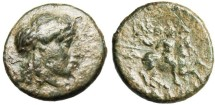 "Ancient Coins - SCARCE AE14 of Ionia Kolophon (Colophon) ""Warrior on Horse"" BMC 35"