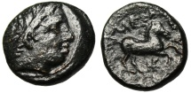 """Ancient Coins - Alexander III The Great AE16 """"Apollo & Horse Prancing, HP Monogram"""" VF"""
