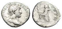 "Ancient Coins - Hadrian Silver Denarius ""Roma Seated on Cuirass"" Rome 119-222 AD RIC 77b gF"