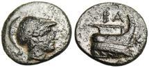 """Ancient Coins - Demetrios I Poliorketes AE16 """"Prow"""" Good VF"""