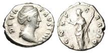 "Ancient Coins - Diva Faustina I Senior Silver Denarius ""CONSECRATIO Ceres Left"" Rome RIC 382a"