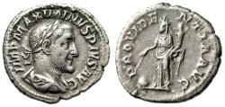 "Ancient Coins - Maximinus I Thrax AR Denarius ""Providentia, Globe"" Rome 235-236 AD RIC 13 VF"