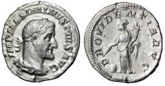 "Ancient Coins - Maximinus I Thrax AR Denarius ""Attractive Portrait & Providentia"" Good VF"