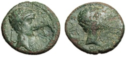 "Ancient Coins - Augustus & Rhoemetalkes I Contemporary Imitation ""Busts"" Rare 11BC-12AD"