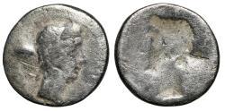 """Ancient Coins - Augustus Brockage AR Quinarius """"Portrait Right & Incuse Left"""" Rare"""