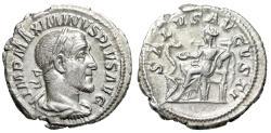 "Ancient Coins - Maximinus I Thrax AR Denarius ""SALVS AVGVSTI Salus Seated"" Rome 235-236 AD gVF"