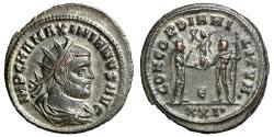 "Ancient Coins - Maximian Silvered Antoninianus ""Portrait & Jupiter Globe"" Cyzicus nEF"