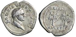 "Ancient Coins - Vespasian AR Denarius ""CAESAR AVGVSTVS Two Branches"" Unique & Unpublished Rare"