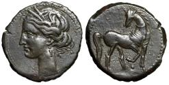 "Ancient Coins - Carthage, Second Punic War BI 1 1/2 Shekels ""Tanit & Horse"" Choice Near EF"
