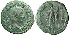 """Ancient Coins - Gordian III AE27 of Hadrianopolis, Thrace """"Concordia, Patera & Scepter"""" Green"""