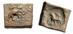 "Ancient Coins - India, Punjab 1 1/2 Karshapana ""Elephant & Lion, Swastika"" 185-168 BC Square"