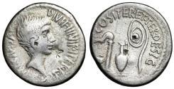 "Ancient Coins - Octavian AR Denarius 37 BC ""Emblems of Augurate & Pontificate"" Italian Mint"