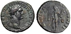 "Ancient Coins - Domitian AE As ""MONETA AVGVSTI SC Moneta, Scales"" 92-94 AD RIC 756 VF"