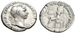 """Ancient Coins - Trajan Silver Denarius """"Roma Seated, Holding Victory"""" Rome RIC 116 Good Fine"""