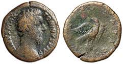 """Ancient Coins - Divus Marcus Aurelius AE Sestertius """"Eagle Atop Globe"""" Under Commodus 180 AD"""