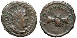"""Ancient Coins - Marius, Usurper in Gaul, AE Antoninianus """"Two Clasped Hands"""" About VF Rare"""