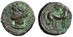 """Ancient Coins - Zeugitania, Carthage AE15 """"Wreathed Tanit & Horse By Palm Tree"""" About EF"""