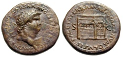 "Ancient Coins - Nero Sestertius Circa 64-68 AD ""Temple of Janus, Time"" RIC 323 Scarce About EF"