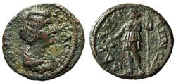 "Ancient Coins - Julia Domna AE19 ""Dionysos With Kantharos"" Mysia, Adramyteum Near EF"