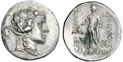 "Ancient Coins - Thrace, Maroneia AR Tetradrachm ""Dionysos Wreathed & Standing, ME Monogram"" Rare"