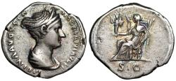 "Ancient Coins - Sabina (Wife of Hadrian) AR Denarius ""Vesta Seated, SC"" RIC 408 Rare Attractive"