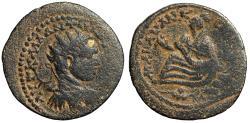"Ancient Coins - Elagabalus AE27 of Edessa, Mesopotamia ""Radiate Portrait & Tyche"" gF"