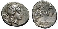 "Ancient Coins - L Rutilius Flaccus AR Denarius ""Helmeted Roma & Victory in Biga"" Rome 77 BC gVF"