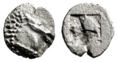 "Ancient Coins - Aeolis, Kyme AR Tetartemorion ""Head of Horse & Quadripatite Incuse"" Choice EF"
