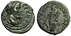 """Ancient Coins - Septimius Severus AE21 of Markianopolis, Moesia """"Tyche, Rudder"""" Green EF"""