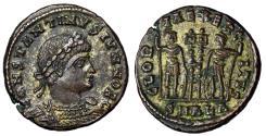 "Ancient Coins - Constantine II Caesar Silvered ""GLORIA EXERCITVS Soldiers"" Alexandria RIC 59 aEF"