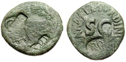 Ancient Coins - Augustus AE As of Naevius Surdinus with 4 Obverse & 1 Reverse Countermarks Rare