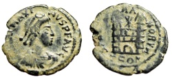 "Ancient Coins - Magnus Maximus AE4 ""SPES ROMANORVM Campgate"" Arles RIC 29a Desert Patina"