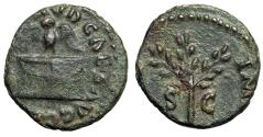 "Ancient Coins - Nero AE Quadrans ""Owl on Altar & Olive Branch"" Rome RIC 320 Rare aVF"