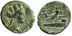 """Ancient Coins - Phoenicia, Arados AE22 """"Tyche & Poseidon on Prow"""" Date Year 130 Good Fine"""