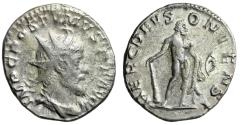 "Ancient Coins - Postumus AR Antoninianus ""HERC DEVSONIENSI Hercules With Bow"" RIC 64 Lyons"