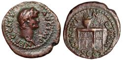 """Ancient Coins - Nero AE Semis """"Table With Sphinxes, Gryphons, Urn & Shield"""" Rare Reverse Legend"""
