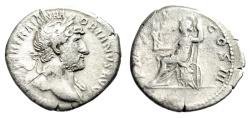 """Ancient Coins - Hadrian Silver Denarius """"Roma Seated on Cuirass"""" Rome 119-222 AD RIC 77b gF"""