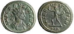 "Ancient Coins - Carus AE Antoninianus ""AETERNIT IMERPI Sol Walking, Whip"" Rome RIC 36"