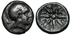 "Ancient Coins - Troas, Kolone AE15 ""Helmeted Athena & Star of Eight Rays"" 4th Century BC"