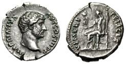 "Ancient Coins - Hadrian Silver Denarius ""VENERIS FELICIS Venus, Cupid"" Rome RIC 280a Rare aEF"