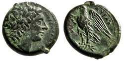 "Ancient Coins - Sicilian King: Hiketas Circa 287-278 BC ""Apollo & Eagle on Thunderbolt"" EF"