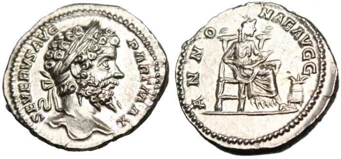 """Ancient Coins - Septimius Severus Silver Denarius """"Annona Seated"""" Rome RIC 156 RARE EF"""