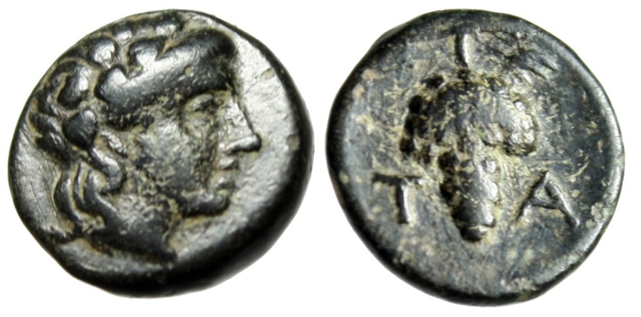 """Ancient Coins - Aeolis, Temnos AE12 """"Young Dionysos & Grape Cluster / Bunch T-A"""" VF"""