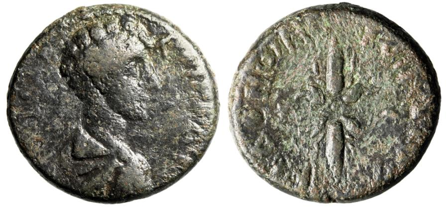 """Ancient Coins - Commodus AE25 """"Youthful Bare Head & Winged Thunderbolt"""" Koinon of Macedonia"""