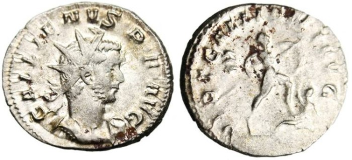 "Ancient Coins - Gallienus Silver AR Ant. ""VIRT GALLIENI AVG Emperor Trampling Enemy"" RIC 315"