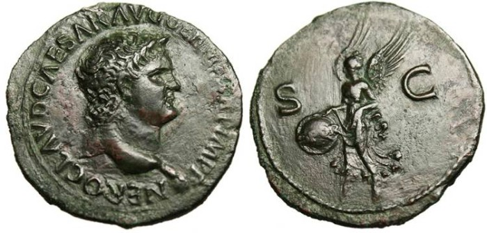 "Ancient Coins - Nero, AE As ""Victory With Shield SPQR"" Lugdunum EF RIC 477"