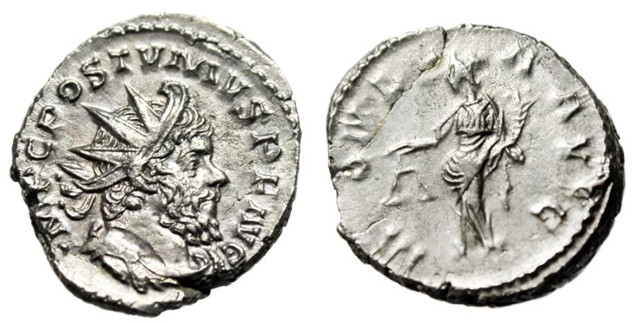"Ancient Coins - Postumus Heavy 5.05g Silver Antoninianus ""Moneta, Scales"" RIC 75 Rare Weight"