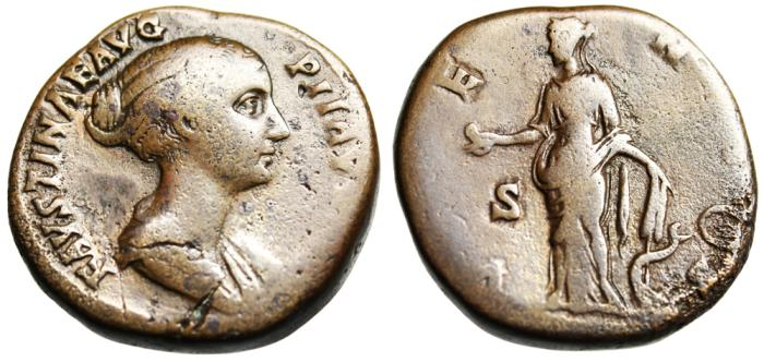 "Ancient Coins - Faustina II Lifetime AE Sestertius ""Venus Apple & Rudder, Dolphin"" RIC 1409a SCARCE"